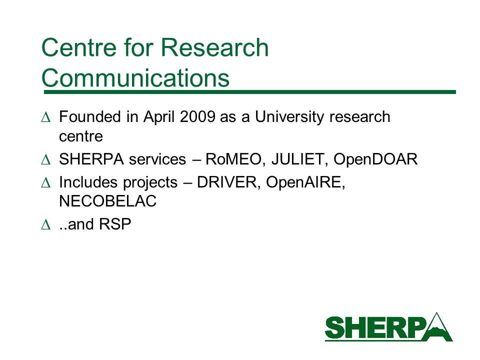 Centre for Research Communications