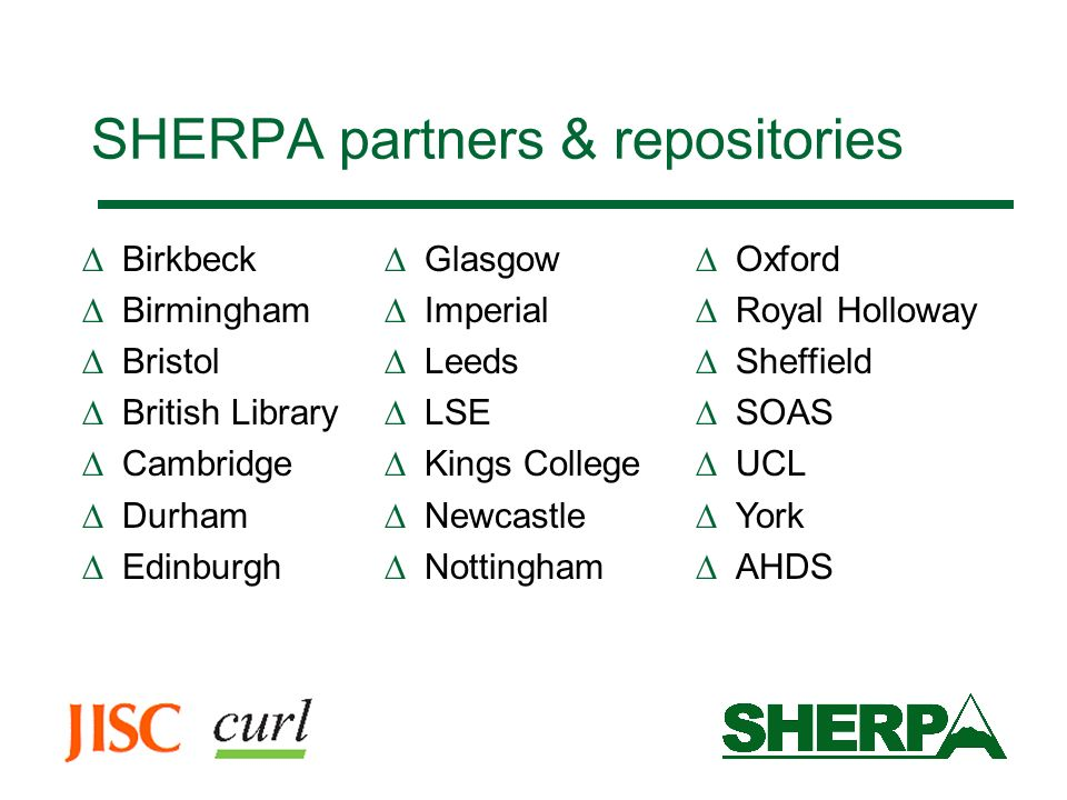 SHERPA partners & repositories