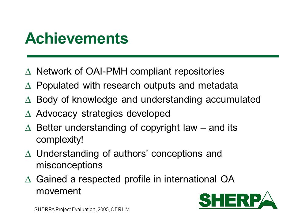 Achievements Network of OAI-PMH compliant repositories