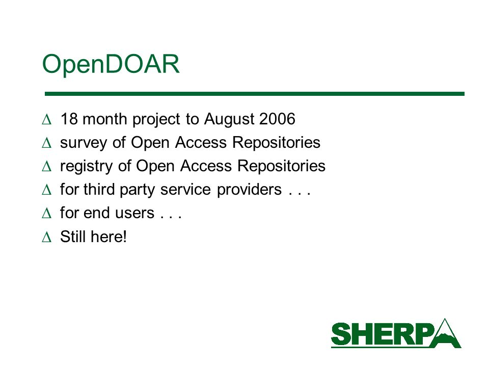 OpenDOAR 18 month project to August 2006