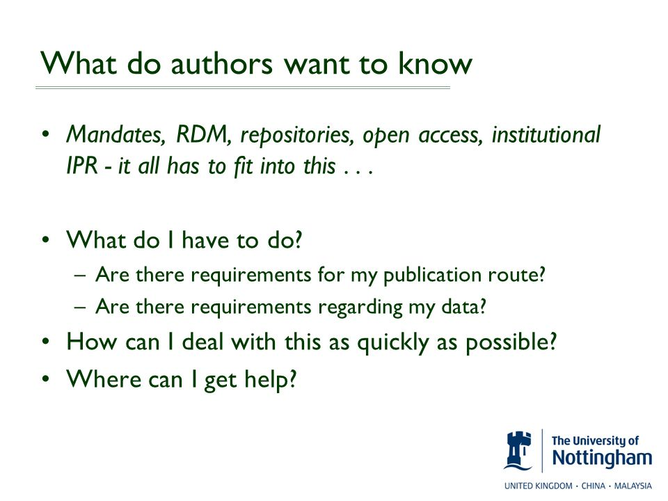 What do authors want to know