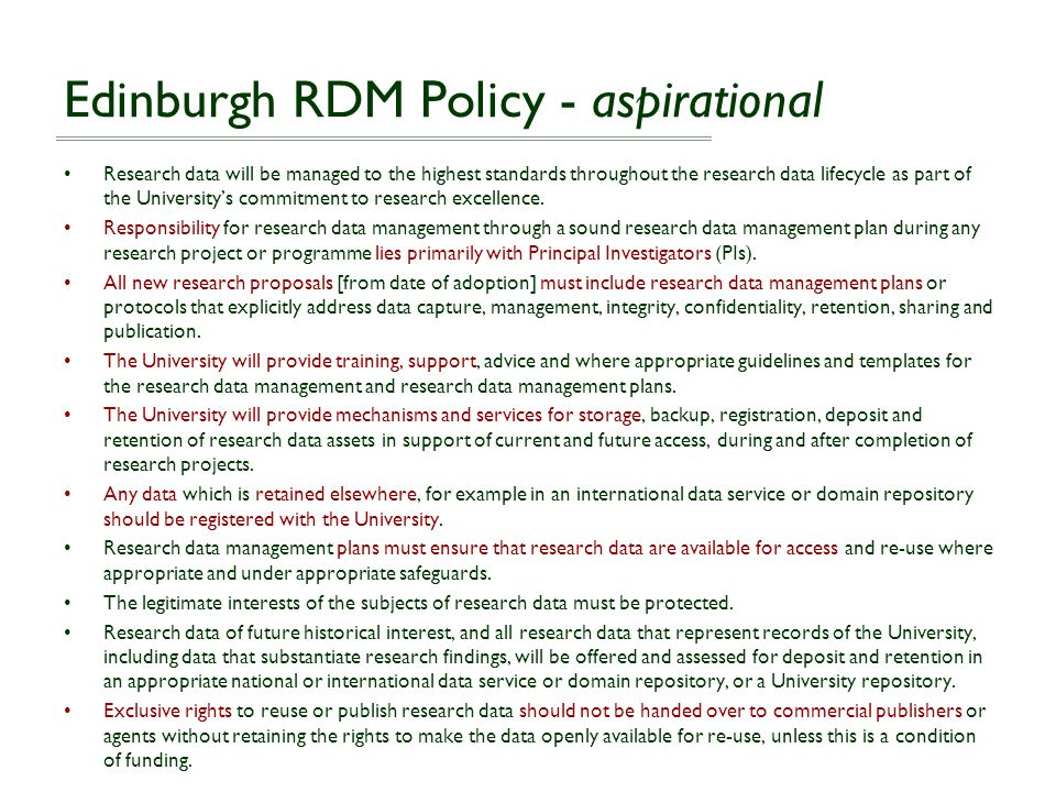 Edinburgh RDM Policy - aspirational