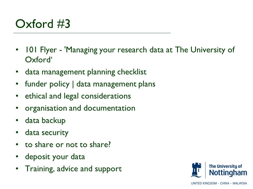 Oxford #3 101 Flyer - Managing your research data at The University of Oxford' data management planning checklist.