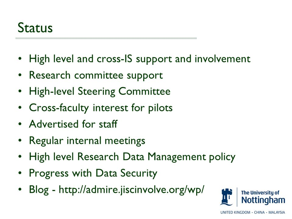 Status High level and cross-IS support and involvement