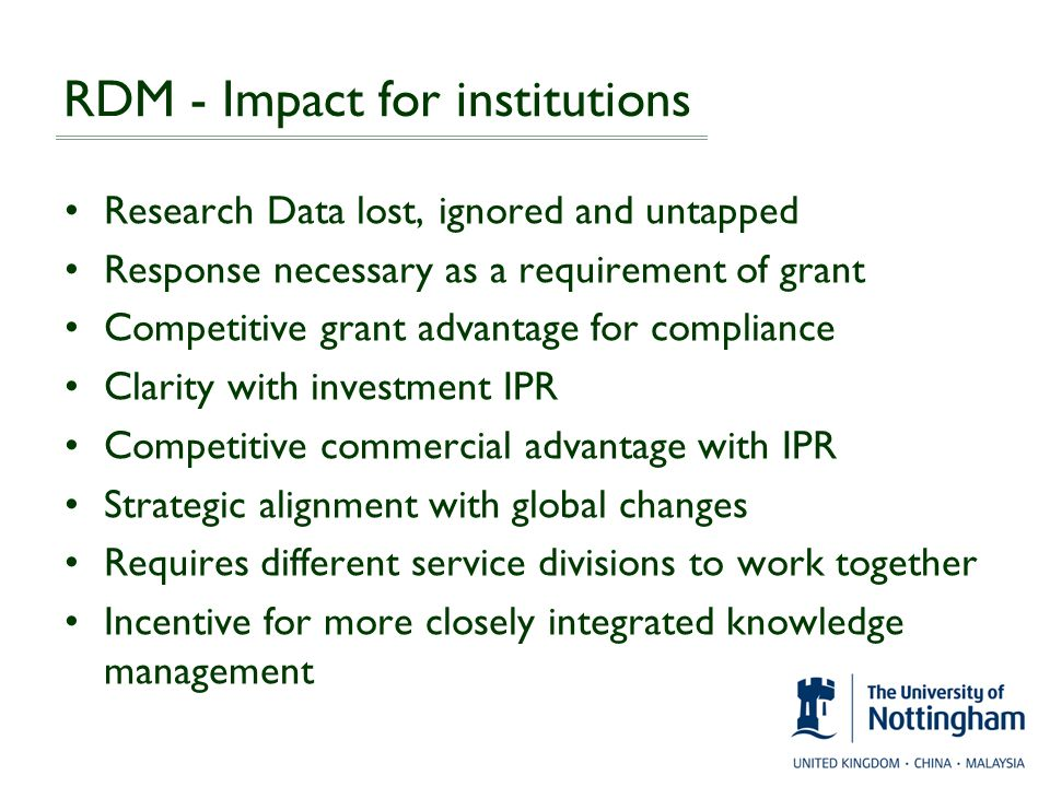 RDM - Impact for institutions