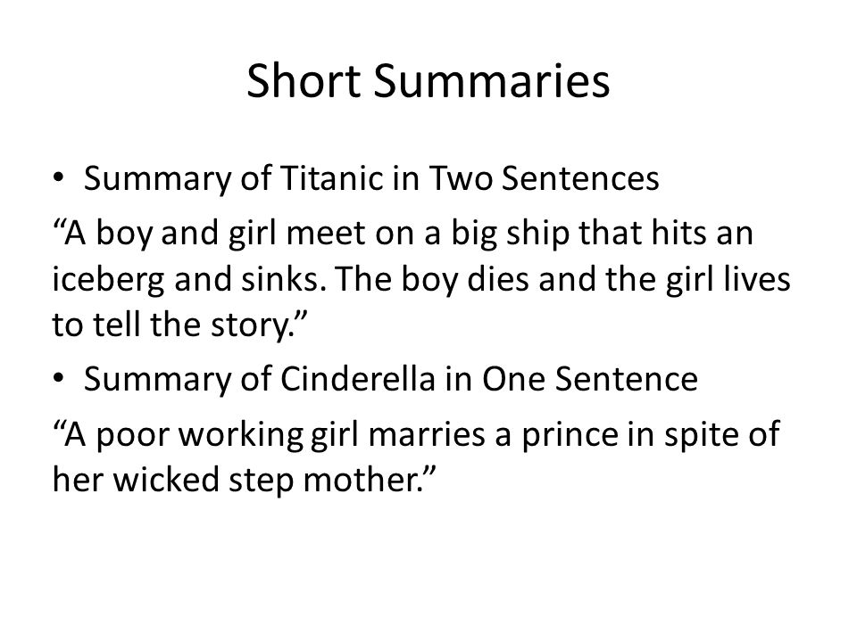 summary of the story of an