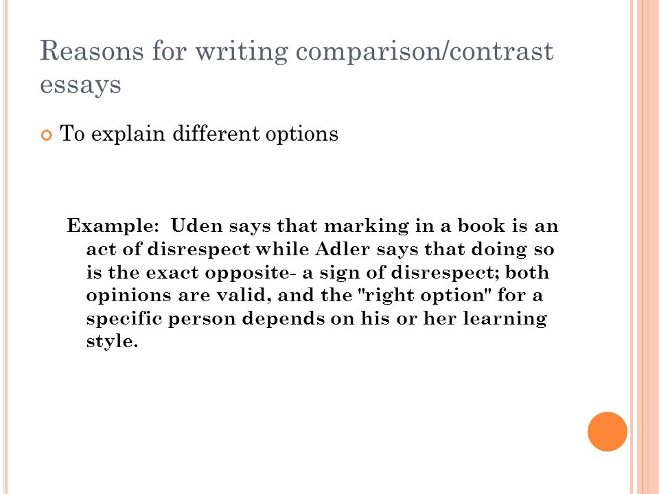 Example Of Comparison Contrast Essay Comparison Essays Topics  Reasons For Writing Comparisoncontrast Essays  Example Of Comparison  Contrast Essay