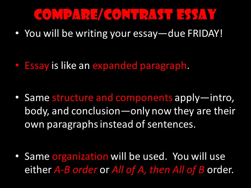 steps to writing a compare contrast essay Write a body paragraph for a point-by-point compare and contrast essay.