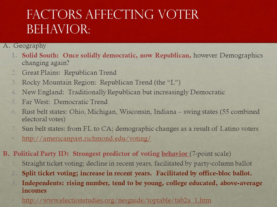 factors affecting voting behaviour Politics - what are the main factors affecting voting behaviour in the united kingdom is there evidence that these are changing and should this be a matter of - essay.
