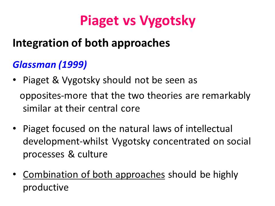 piagets and vygotskys explanation Comparison between piaget & vygotsky similarities  vygotsky's explanation for cognitive development 50 / 5 teacher recommended see all psychology resources.