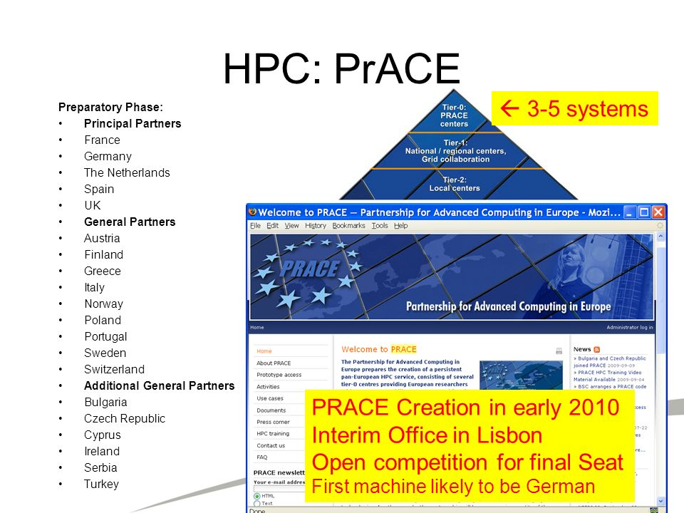 HPC: PrACE  3-5 systems PRACE Creation in early 2010
