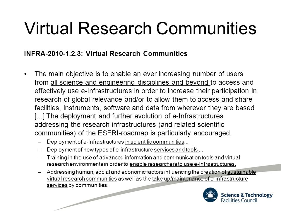 Virtual Research Communities