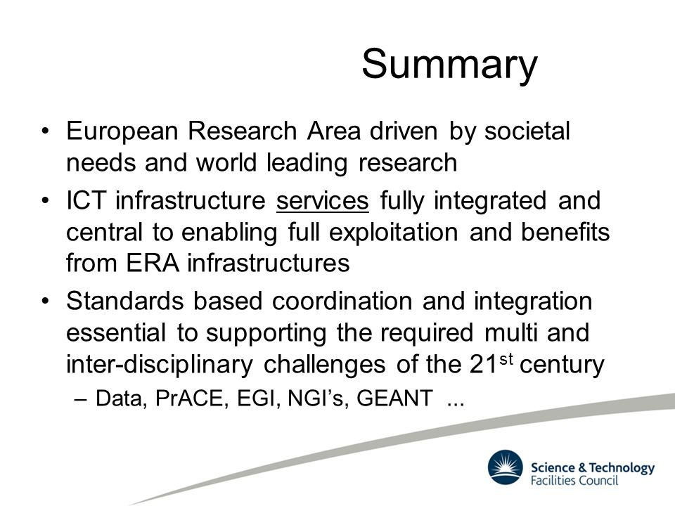Summary European Research Area driven by societal needs and world leading research.