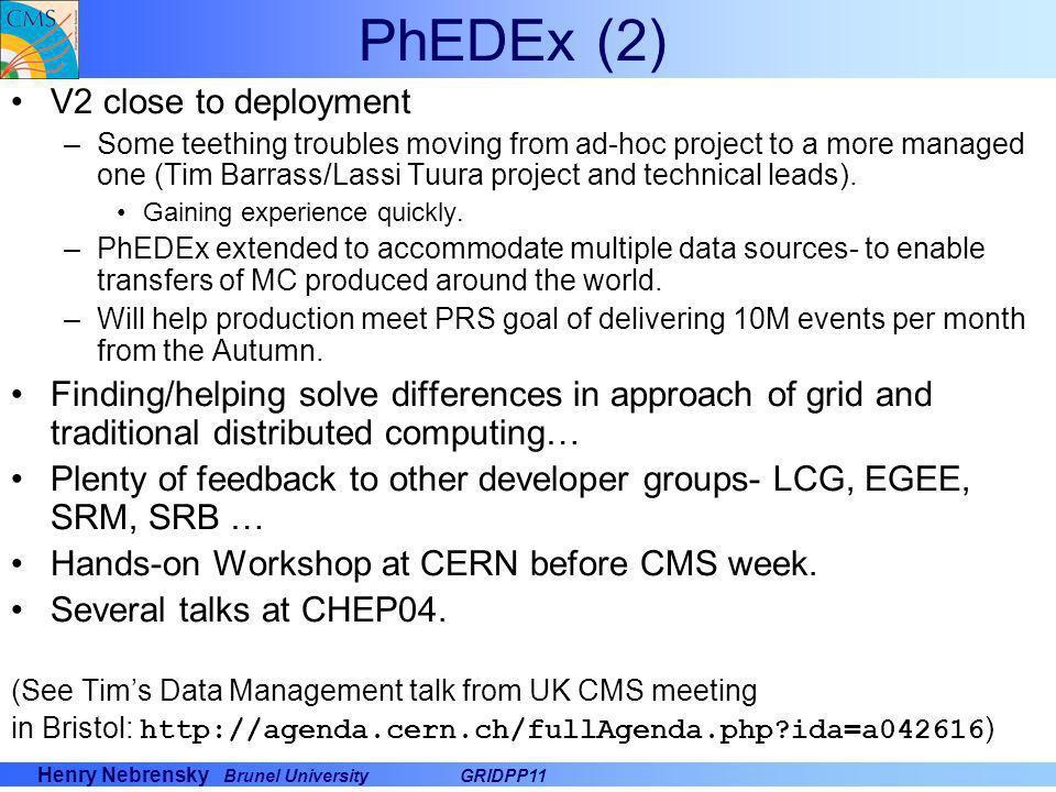 PhEDEx (2) V2 close to deployment