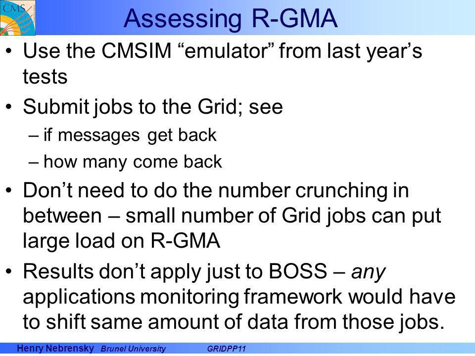 Assessing R-GMA Use the CMSIM emulator from last year's tests