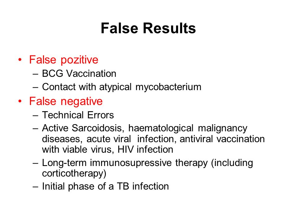 False Results False pozitive False negative BCG Vaccination