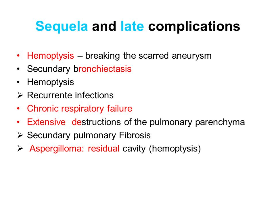 Sequela and late complications