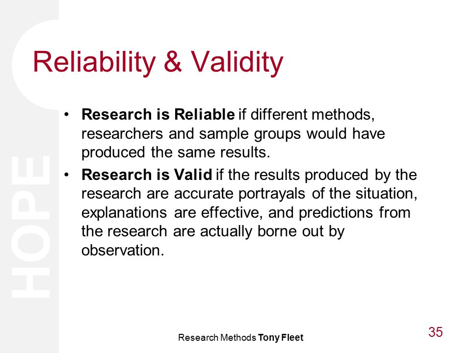 essay on reliability and validity in research