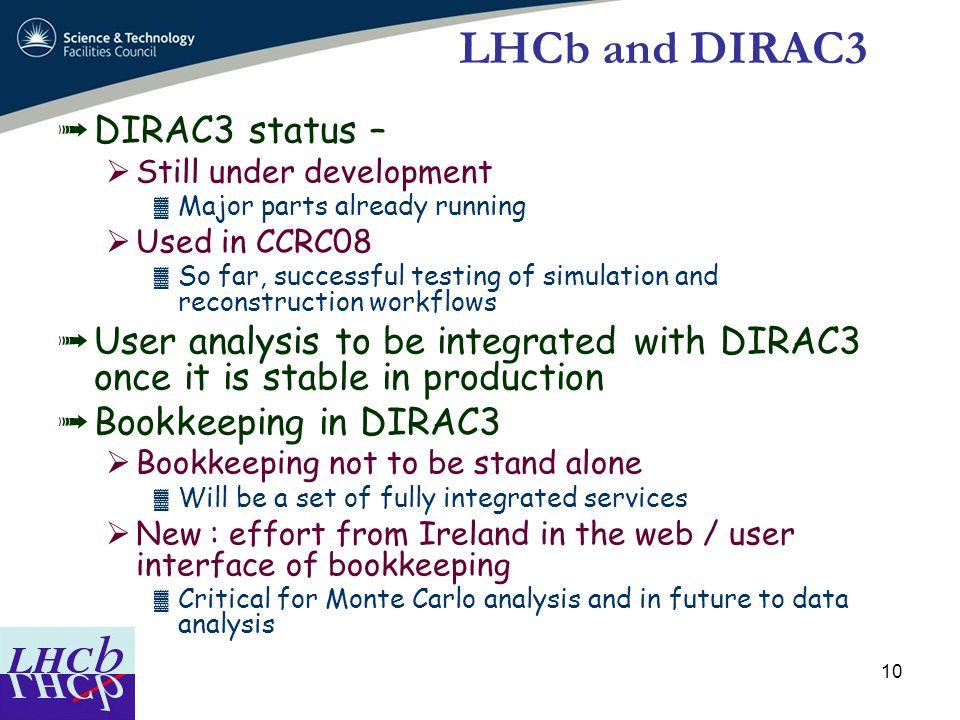 LHCb and DIRAC3 DIRAC3 status –