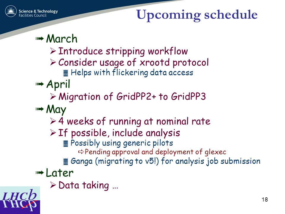 Upcoming schedule March April May Later Introduce stripping workflow