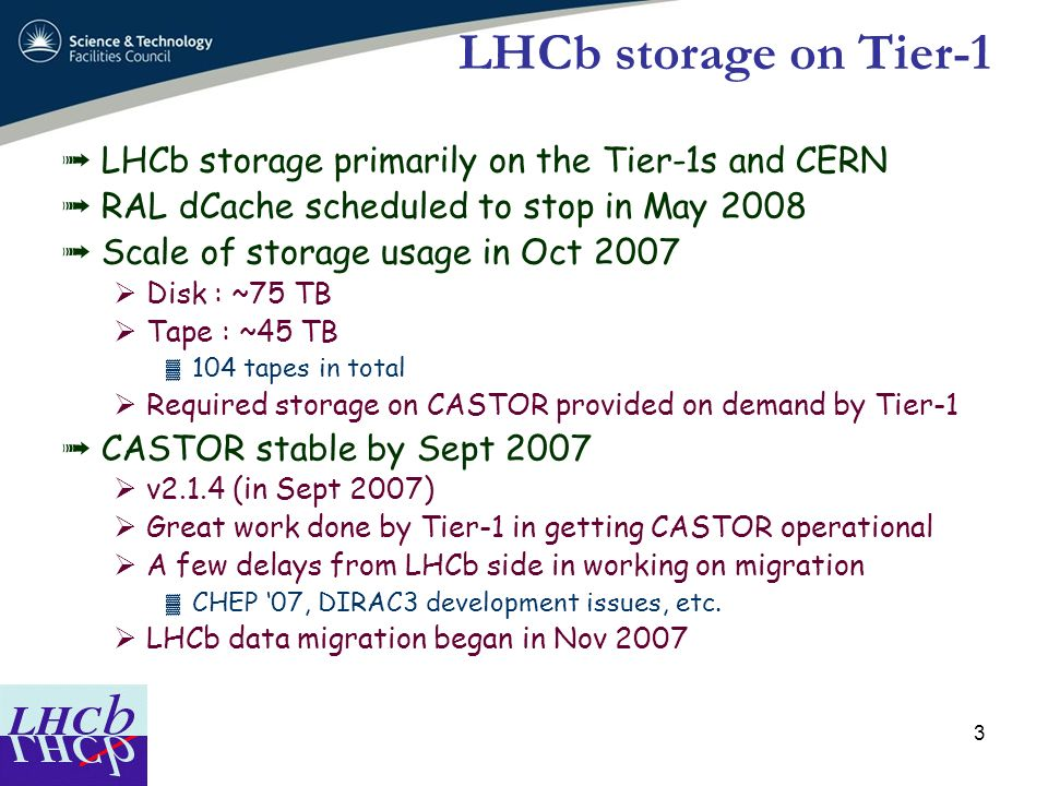 LHCb storage on Tier-1 LHCb storage primarily on the Tier-1s and CERN