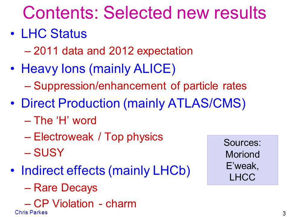 Contents: Selected new results