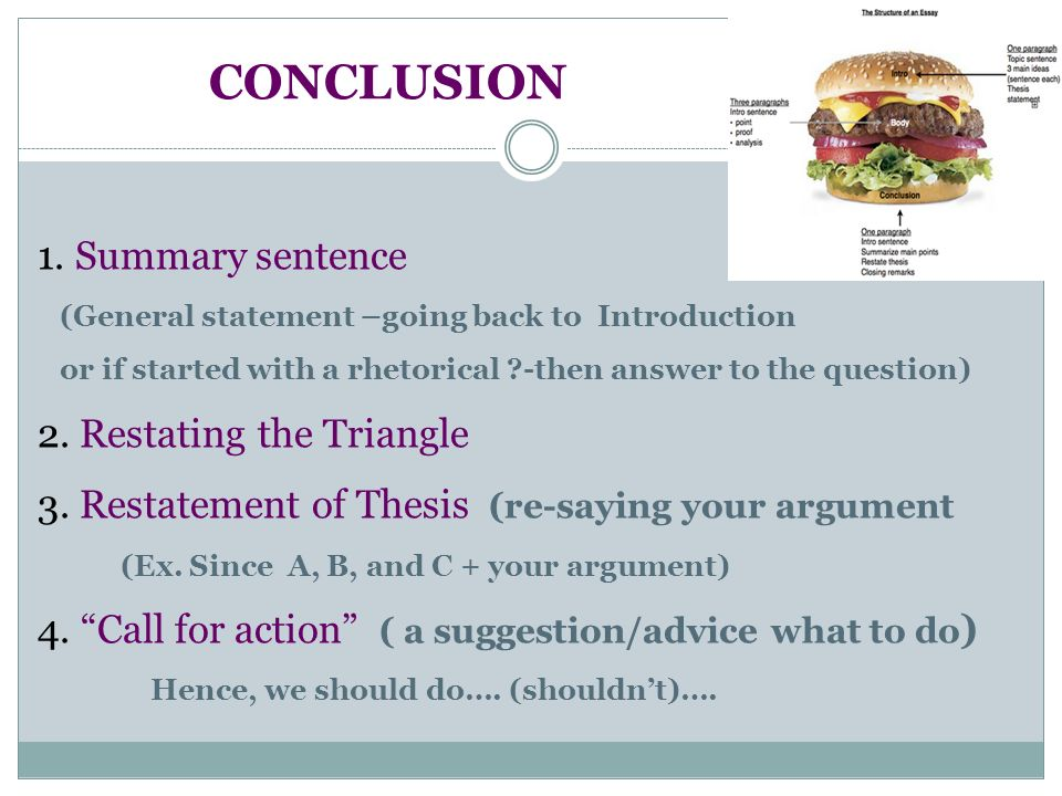 restatement of the thesis In an essay a thesis statement explains what the purpose of the paper is especially in an argumentative essay you state your opening argument subsequently following with your support.