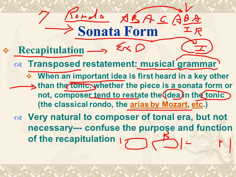 """music sonata form and classical period From the italian sonare meaning simply """"to sound,"""" sonata form nearly always refers to a single-movement structure used throughout the classical period."""