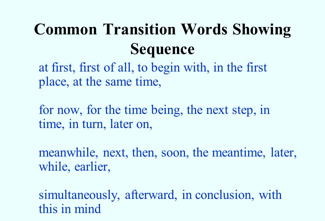 Transitioning words in an essay