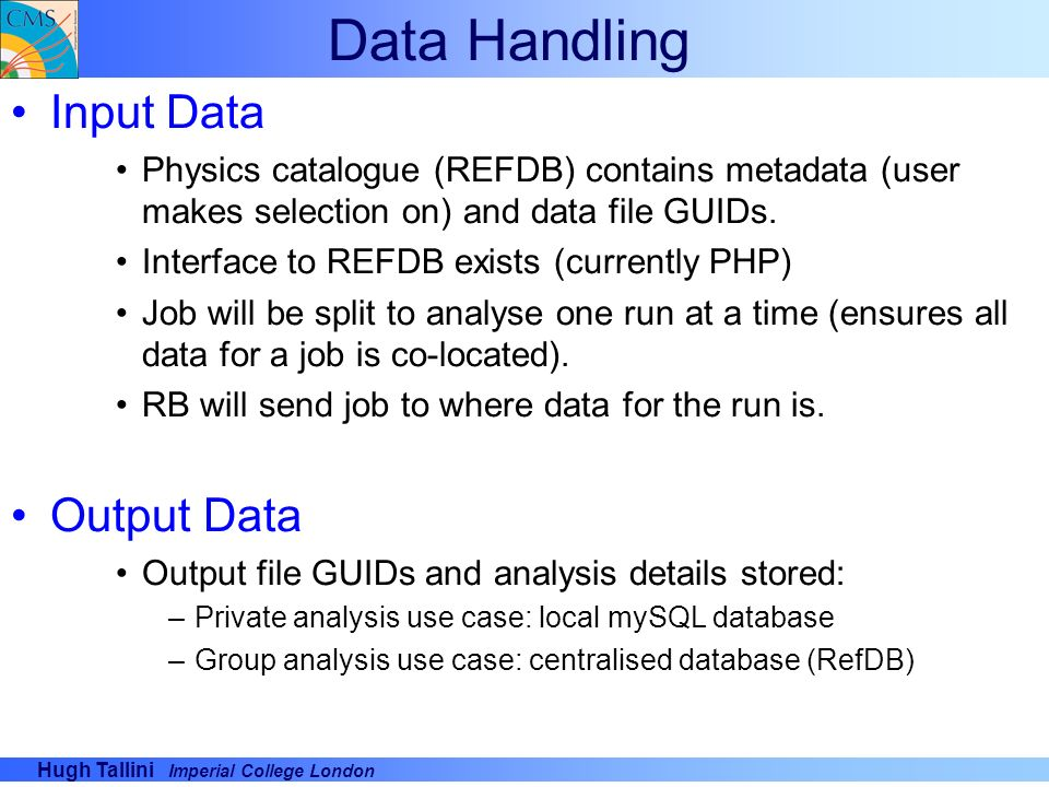 Data Handling Input Data Output Data