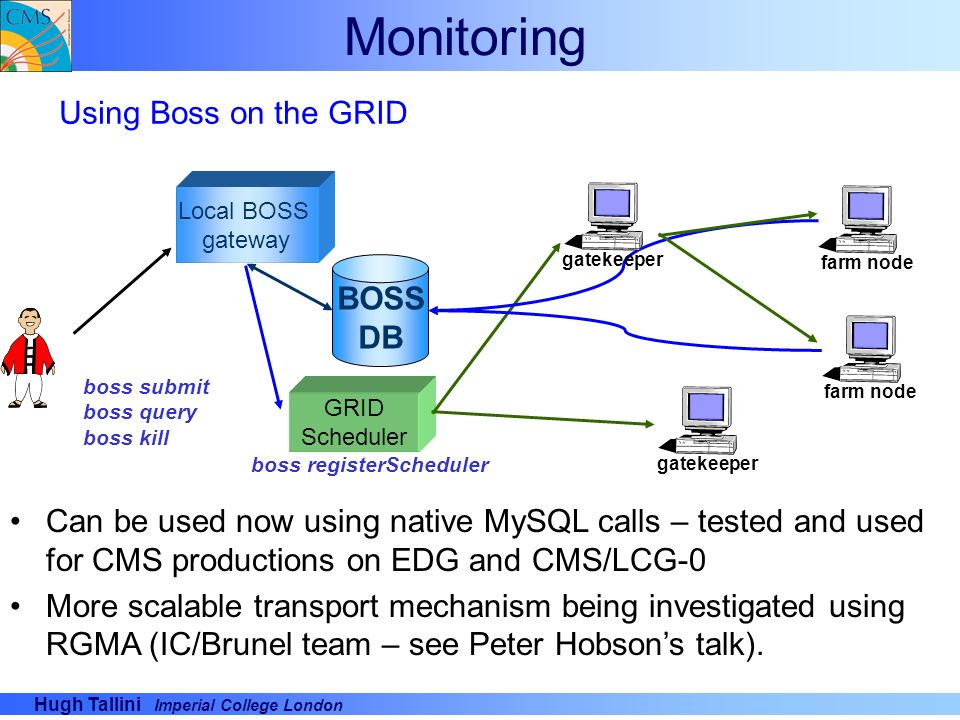 Monitoring Using Boss on the GRID BOSS DB