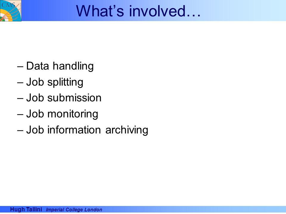 What's involved… Data handling Job splitting Job submission