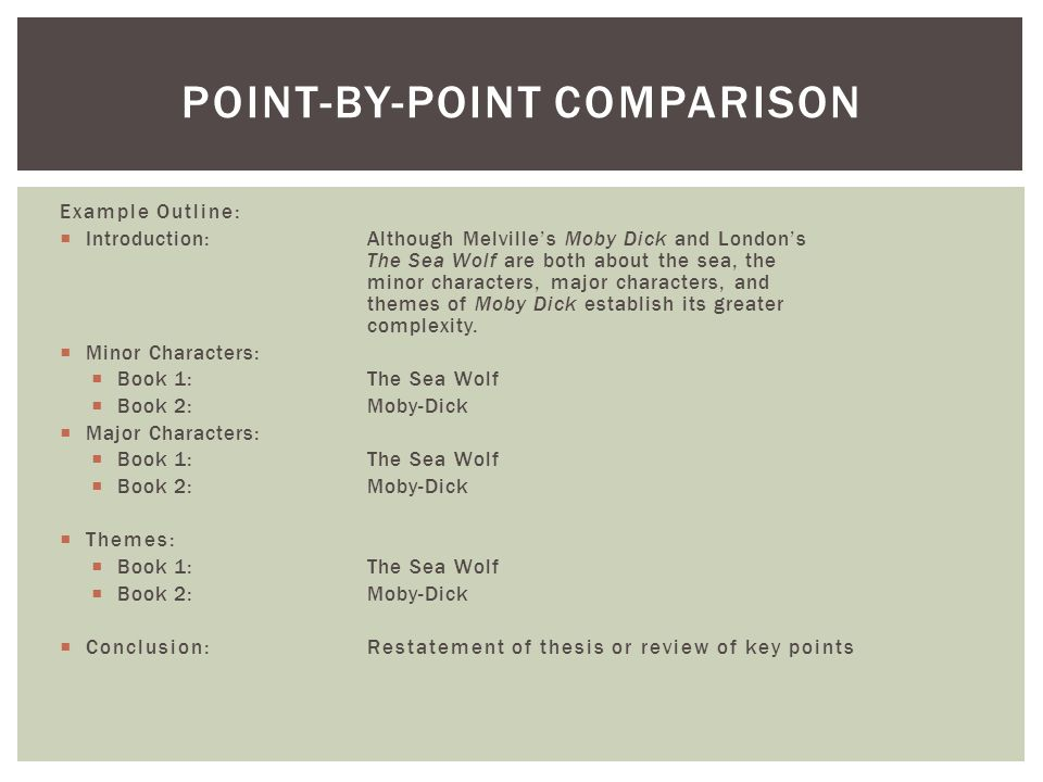 Point-by-point comparison