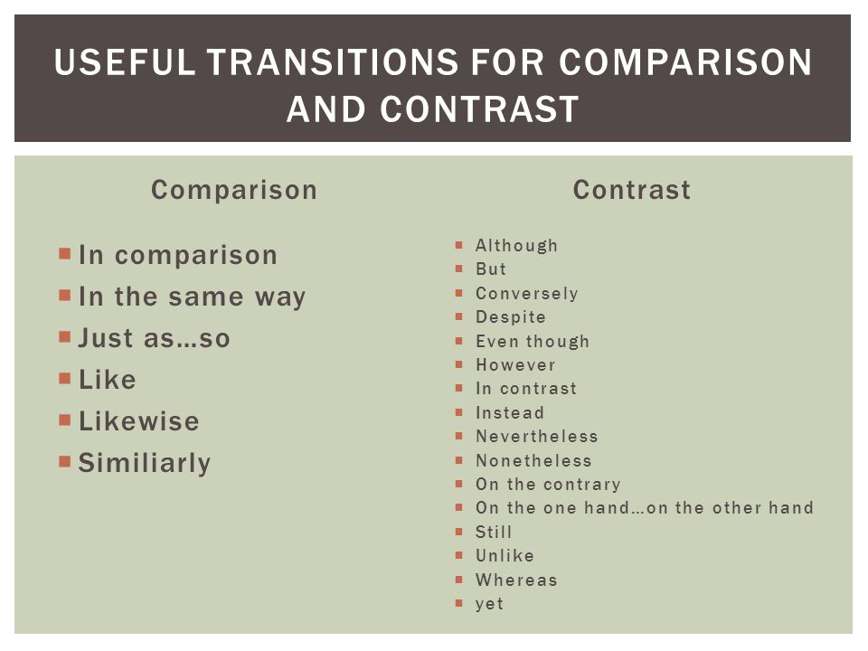 Useful transitions for comparison and contrast