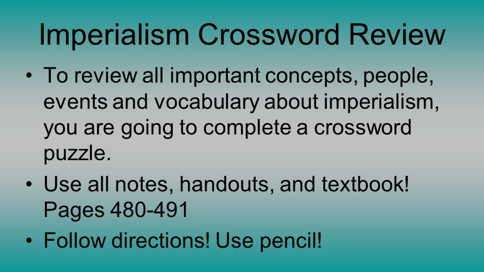 Crossword puzzle maps in us history the age of imperialism