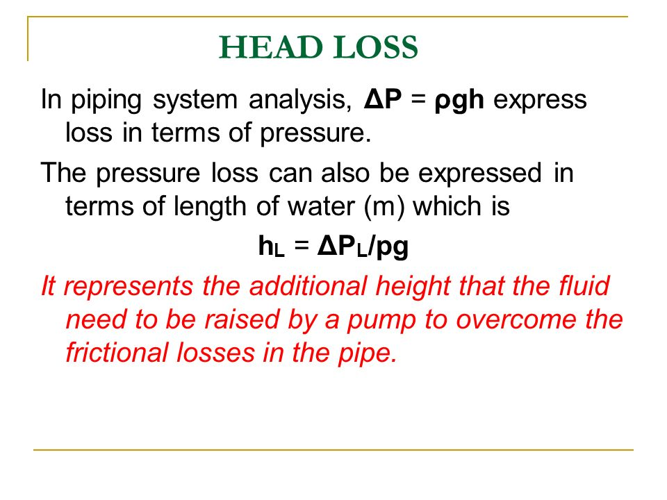 head losses in pipes Hydraulic losses in pipes henryk kudela contents add to the overall head loss of the system such losses are generally termed minor losses, with.