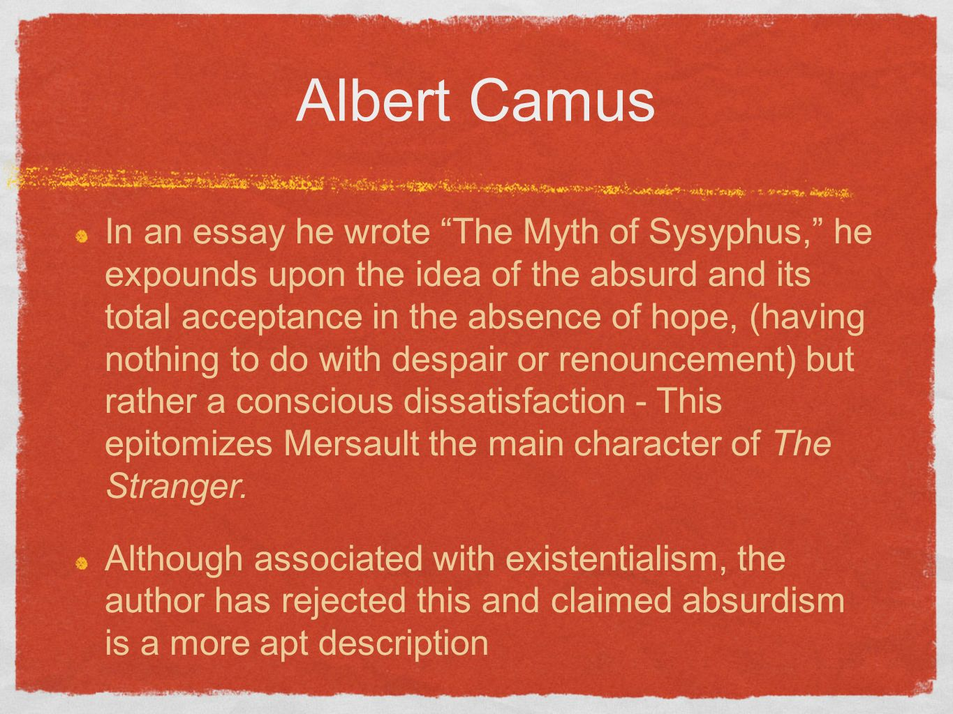 Essay Thesis Statement Generator Essayterm Paper Albert Camus And Existentialism Good Essay Topics For High School also English Essay Short Story The Stranger  By Albert Camus  Essay Example Essay About Healthy Lifestyle