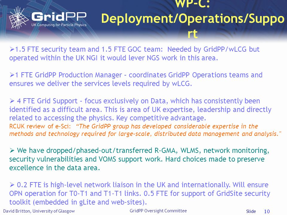 WP-C: Deployment/Operations/Support