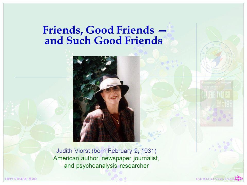 judith viorst friends good friends and such good friends