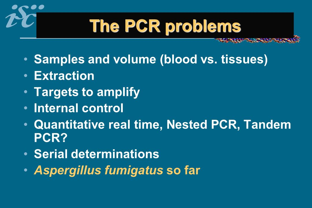 The PCR problems Samples and volume (blood vs. tissues) Extraction
