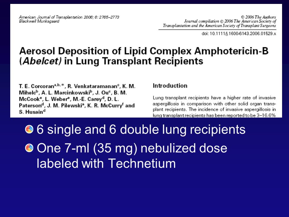6 single and 6 double lung recipients