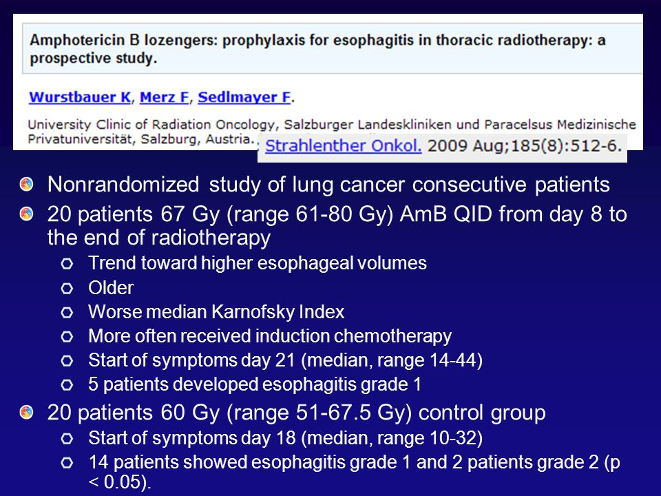 Nonrandomized study of lung cancer consecutive patients