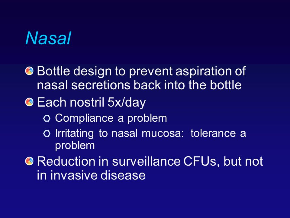 Nasal Bottle design to prevent aspiration of nasal secretions back into the bottle. Each nostril 5x/day.