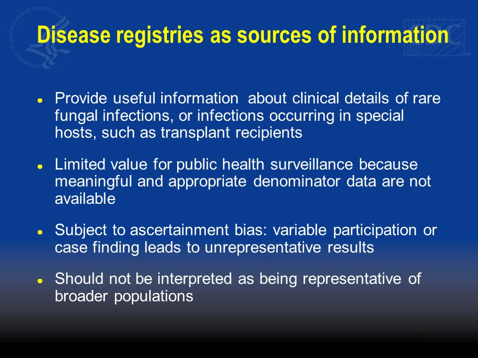Disease registries as sources of information