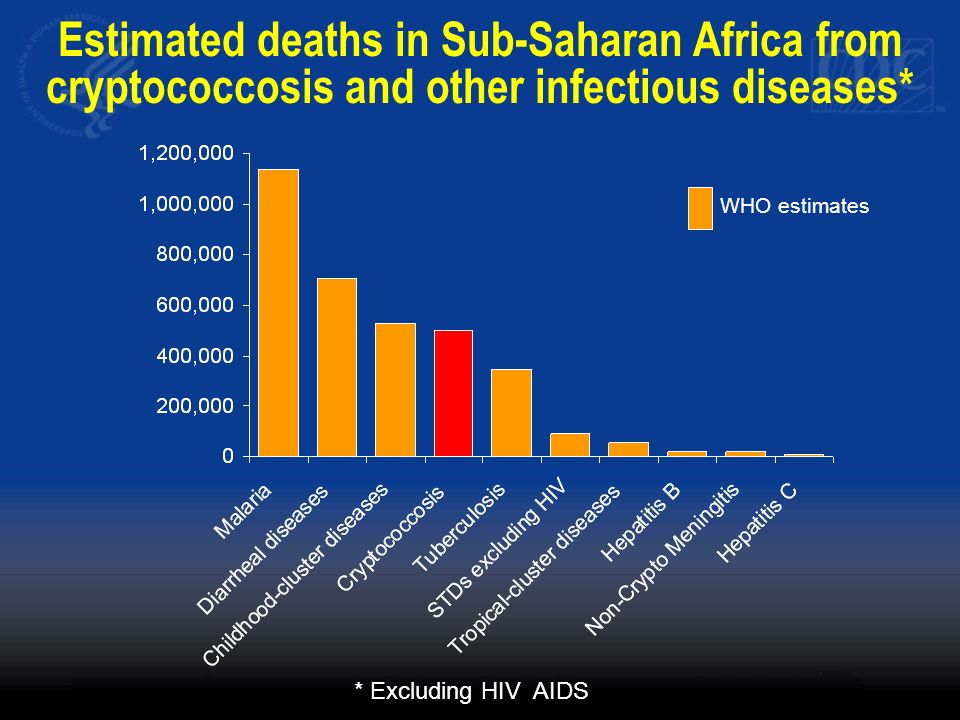 Estimated deaths in Sub-Saharan Africa from cryptococcosis and other infectious diseases*
