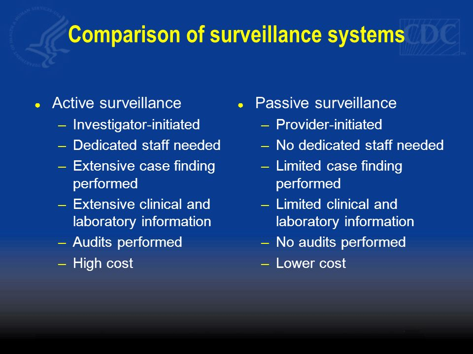 Comparison of surveillance systems