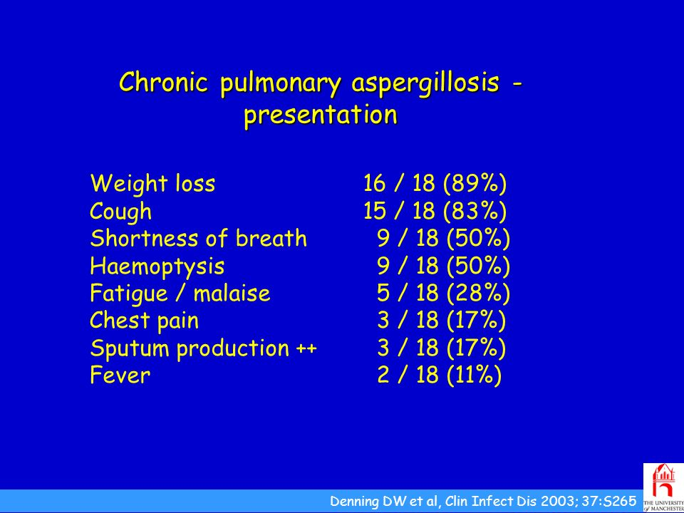 Chronic pulmonary aspergillosis - presentation