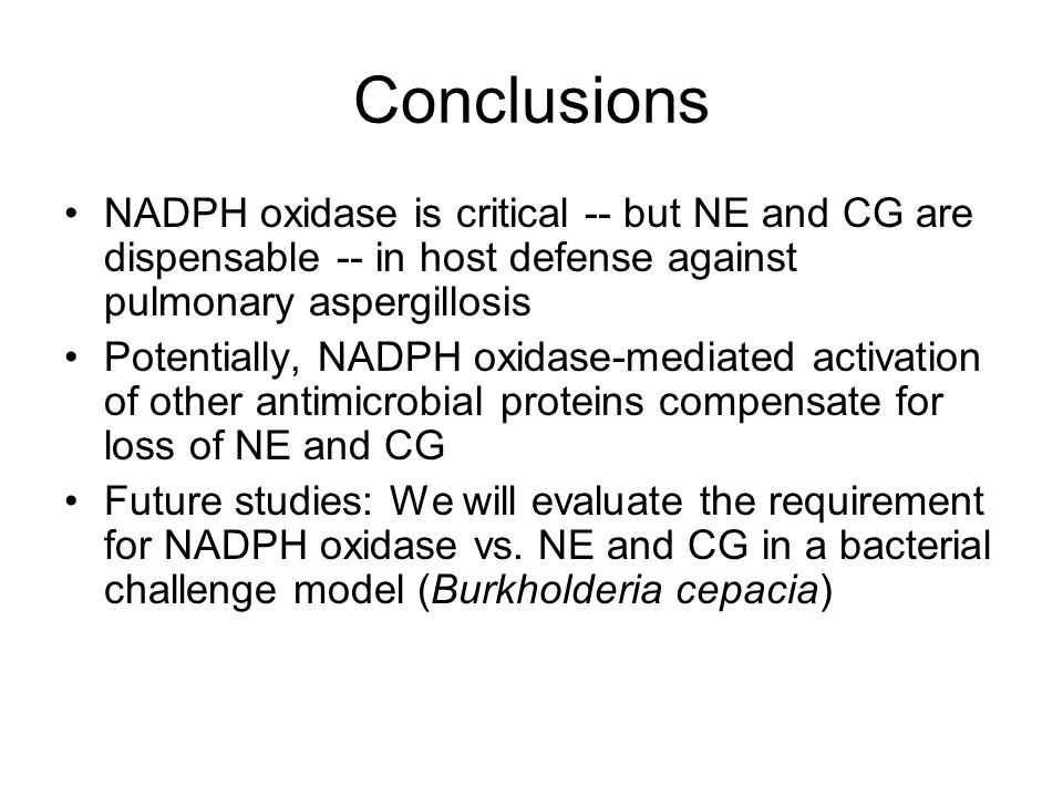 Conclusions NADPH oxidase is critical -- but NE and CG are dispensable -- in host defense against pulmonary aspergillosis.