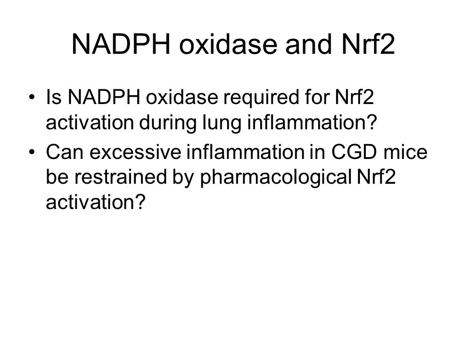 NADPH oxidase and Nrf2 Is NADPH oxidase required for Nrf2 activation during lung inflammation