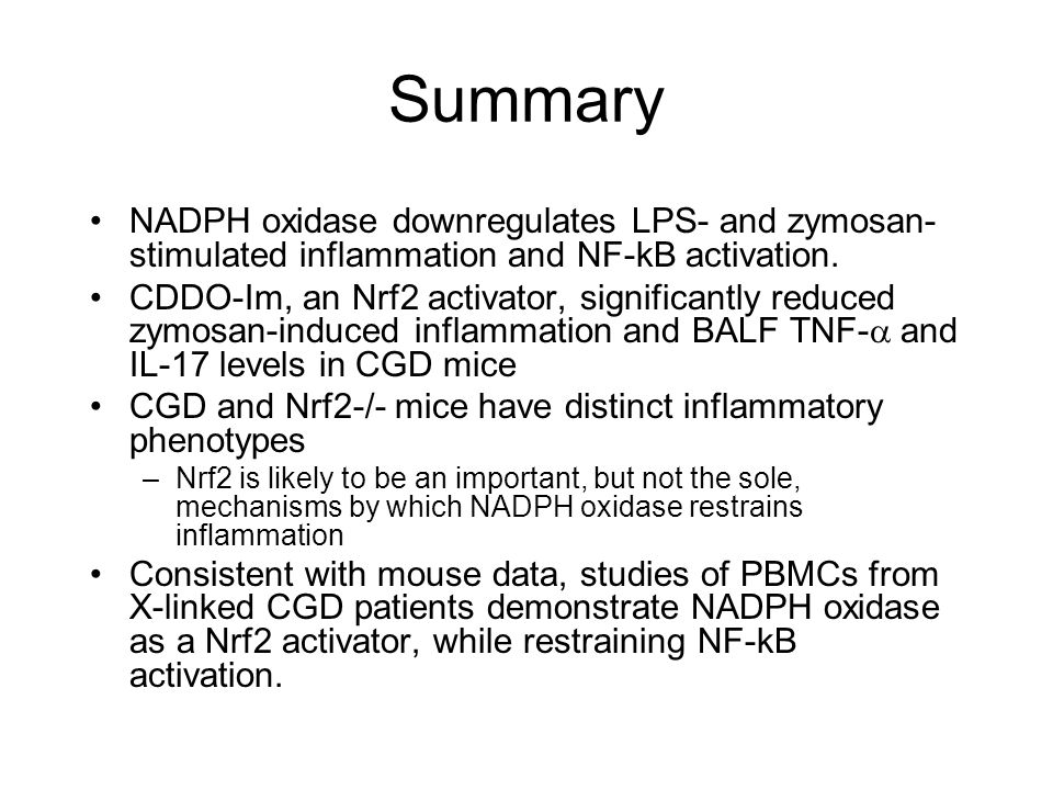 Summary NADPH oxidase downregulates LPS- and zymosan-stimulated inflammation and NF-kB activation.